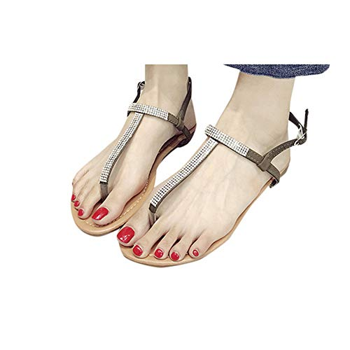 Nihewoo Women Open Toe Sandals T Strap Flat Sandals Shoes Flip Flop Sandals Clip Toe Sandals Buckle Strap Shoes Sandals Army Green