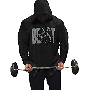GymRevolution Men's Athletic Beast Long Sleeve Hooded Sweatshirt Workout Pullover Hoodies Black M