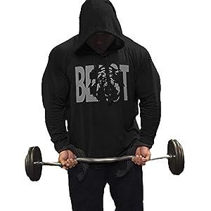 GymRevolution Men's Athletic Beast Long Sleeve Hooded Sweatshirt Workout Pullover Hoodies Black M