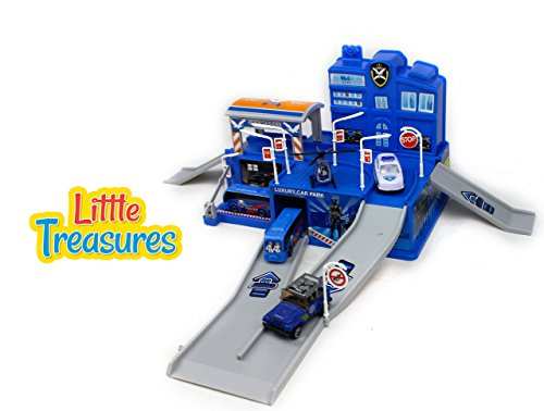 Little Treasures Swat police headquarters plaza building toy play set includes transport buses, emergency helicopter, police car and a special unit police jeep - fun educational toy for - Bus Playtime
