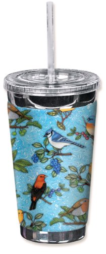 Mugzie brand 16-Ounce To Go Tumbler with Insulated Wetsuit Cover - Song Birds