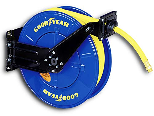 - Goodyear Steel Retractable Air Compressor/Water Hose Reel with 1/2 in. x 50 ft. Rubber Hose, Max. 300PSI