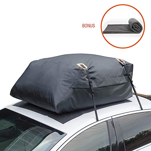 MARKSIGN 100% Waterproof Car Rooftop Cargo Carrier Bag, 15 cu ft, Waterproof Zipper and Rain Flap, 4-Pack Lashing Straps, Fits Vehicles Without Roof Racks, Aerodynamic Design