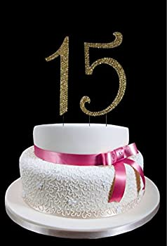 "Large Gold 15th Birthday / Wedding Anniversary Number Mis Quince Cake Topper with Sparkling Rhinestone Crystals - 4 1/2"" Tall - Cake Decoration Jewelry"