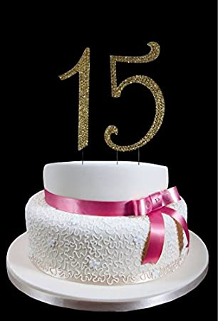 Amazoncom Large Gold 15th Birthday Wedding Anniversary Number