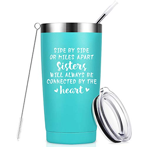 Side by Side or Miles Apart Sisters, Best Sister Gifts from Sister, Funny Birthday Gifts Ideas for Women, Big Little Sister, Best Friend, Soul Sister, Bestie - 20 oz Mug Tumbler Cup with Straw - Mint (Gift Ideas Older For Sister Christmas)