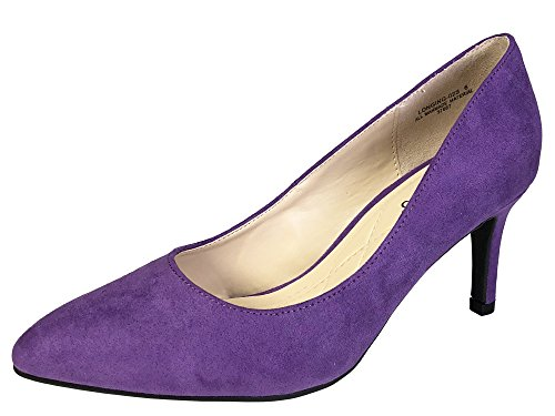 Purple Mid Heel - Bamboo Women's Mid Heel Plain Pump, Purple Faux Suede, 6.0 B (M) US