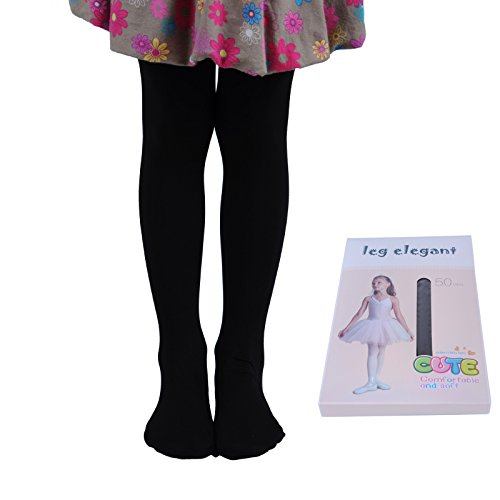 Innabella Girls Microfiber Soft Opaque Solid Colored Footed Tights (5-7, Black) -