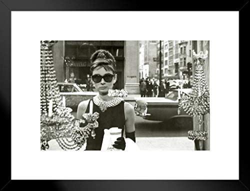 Audrey Hepburn Window Scene Breakfast at Tiffanys Holly Golightly Comedy Movie Film Matted Framed Poster 20x26 inch