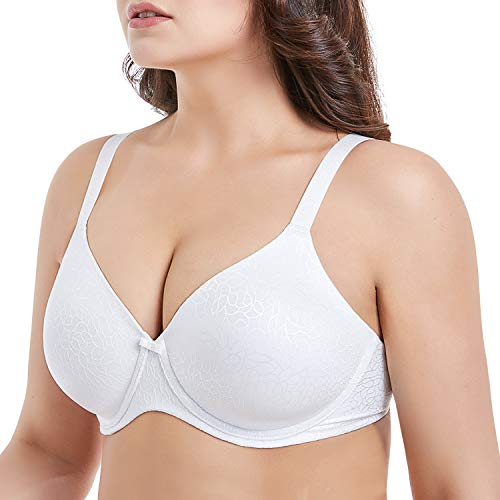 Mirry Women's Plus Size Minimizer Bra Underwire Molded Cup T-Shirt Bra Full Coverage(Pure White, 36H)