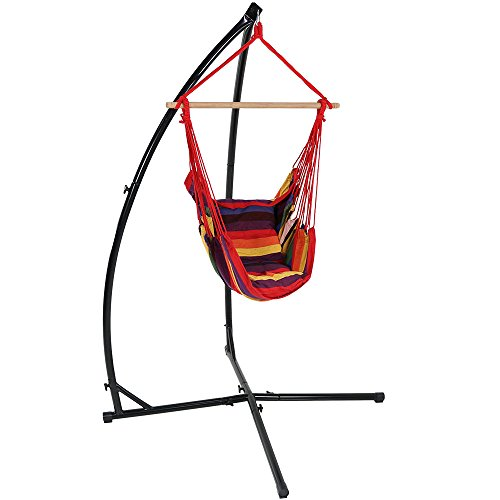 Sunnydaze Hanging Hammock Chair Swing and X-Stand Set, Sunset, for Indoor or Outdoor Use, Max Weight: 250 pounds, Includes 2 Seat Cushions - Living Room Swing