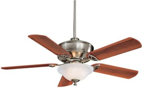 Minka Aire F620-BN Bolo – 52 Inch Ceiling Fan with Light Kit, Brushed Nickel Finish with Dark Walnut Blade Finish with Etched Swirl Glass