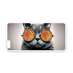 Best Slim Funny Hipster Cat with Pizza Sunglasses Design Case Cover for iPhone 6 Plus For Impact Protection Super Fit iPhone 6 Plus TPU(Laser Technology) - 5.5inches