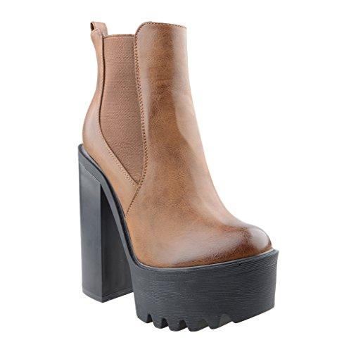 Eyekepper mujeres Grupo de tacon Chunky lado elastico antideslizante en botas de tobillo marrón claro