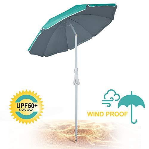 690GRAND 6FT Beach Umbrella with Sand Anchor UPF50+ Sunshade Aluminum Poles Polyester Canopy Including Crank Tilt and Carry Bag