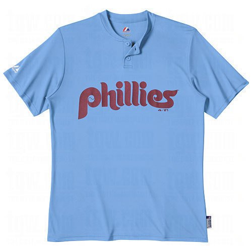 Majestic Two Button Philadelphia Phillies Cool Base Throwback Large Youth Jersey