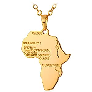 U7 Hip Hop Jewelry 22″ Long Chain Platinum/Rose Gold/Black Gun/18K Gold Plated African Map Pendant Necklace, Free Engraving Back Side