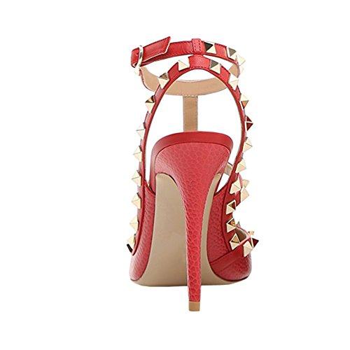 Vocosi Vrouwen Slingbacks Sandaaltjes Voor De Jurk, Puntige Neus Studs Hoge Hakken Sandalen Schoenen Rood