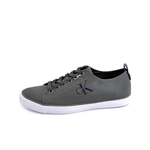 Calvin Klein Chaussures Pour Hommes En Tissu De Toile Vert Militaire Morue. S0369 Vert Taille 39