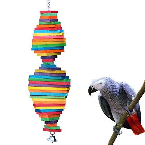 Bird Toy Parrot New Wood - KINTOR Bird Chewing Toy Large Medium Parrot Cage Bite Toys African Grey Macaws Cockatoos Eclectus Amazon (Rainbow-23.2inch)
