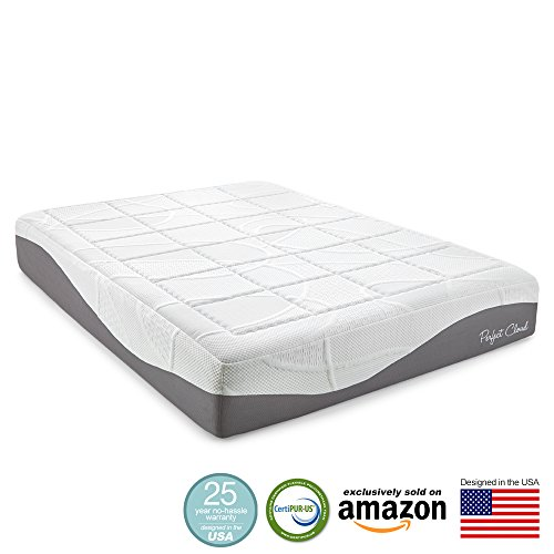 Perfect Cloud Elegance Gel-Pro 12 Inch Memory Foam Mattress - Amazon Exclusive Model Featuring Luxurious Fabrics & Double Layer of Visco Gel Cool Design - 25 Year Warranty (California King) (Solace Camper compare prices)
