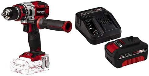 Einhell 4513850 - Taladro atornillador, sin batería, 2velocidades, 60Nm, luz LED, maletín, 500 rpm , 18V + 4512042 Kit con Cargador y batería de repuest, tiempo de carga: 60 Minutos