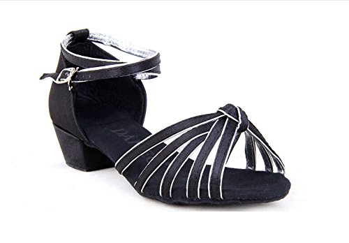 Girls Satin Striped Knot Latin Ballroom Dance Shoes Two-tone Soft Suede Sole Dancing Sandals(2, Black/silver) by staychicfashion (Image #1)