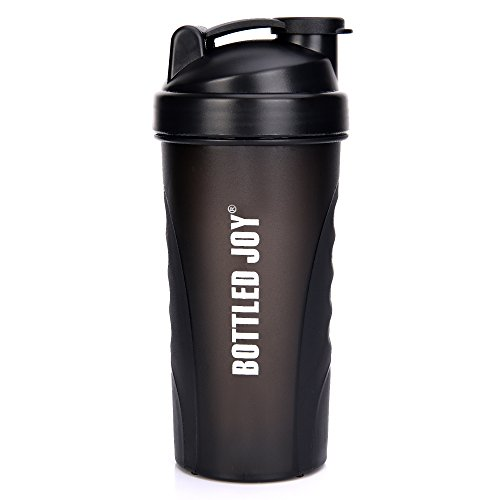 BOTTLED JOY Protein Shaker Bottle, Non-Toxic Wide Mouth 100% Leak Proof Shake Water Bottles 27oz 800ml (Black)