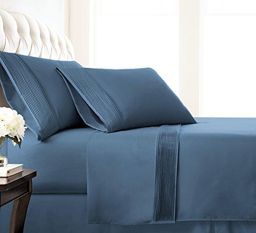 Southshore Fine Linens - Vilano Springs - 4 Piece - Extra Deep Pocket Pleated Sheet Set, King, Coronet Blue