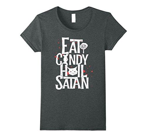 Womens Eat Candy Hail Satan Anti Religious Halloween 2017 T-shirt Medium Dark Heather