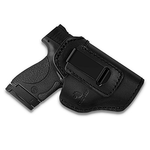 Hide It Deep Genuine Leather IWB Conceal Carry Holster for Glock 17 19 22 23 32 33 / S&W M&P Shield/Springfield XD & XDS, and All Similar Sized Handguns (Black, Right) - Leather Handgun Holsters