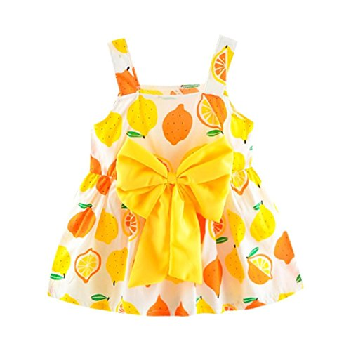 Todaies, Baby Girl Clothes Lemon Printed Infant Outfit Sleeveless Princess Gallus Dress 2018 (0-6M, Yellow 2) -