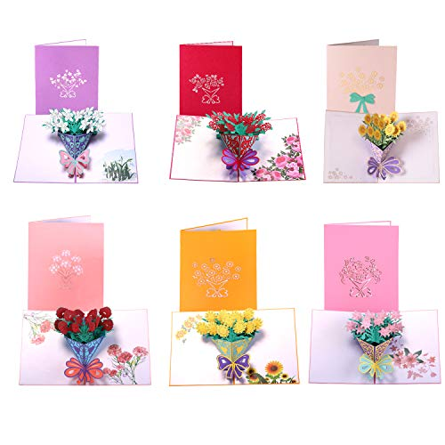Paper Spiritz Pack of 6 Flower Pop Up Cards 3D, Handmade Greeting Card with Envelopes for All Occasions, Assorted 6 Flower Cards for Birthday, Christmas, Valentine's Day Gift