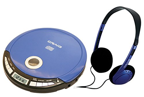 - Craig Electronics Personal CD Player with Headphones, Blue (CD2808-BL)