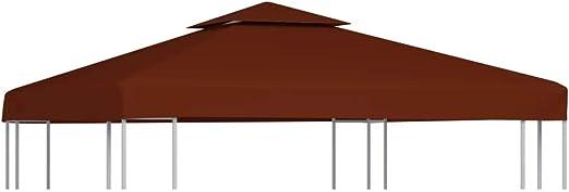 vidaXL Toldo de Cenador 2 Niveles 310 g/m² Casa Jardín Terraza Patio Piscina Decoración Estilo Lona Cubierta Capa Dosel Parasol Palio 3x3 m Terracota: Amazon.es: Hogar