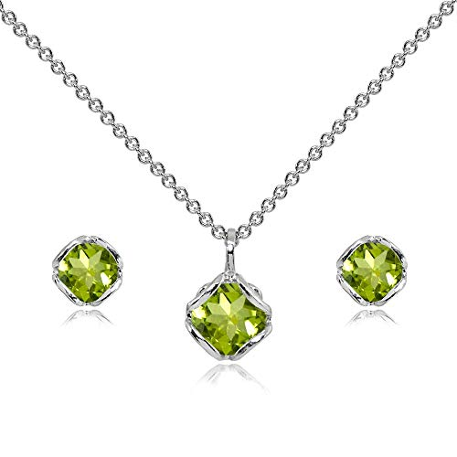(Sterling Silver Peridot 6mm Round Solitaire Stud Earrings & Pendant Necklace Set)