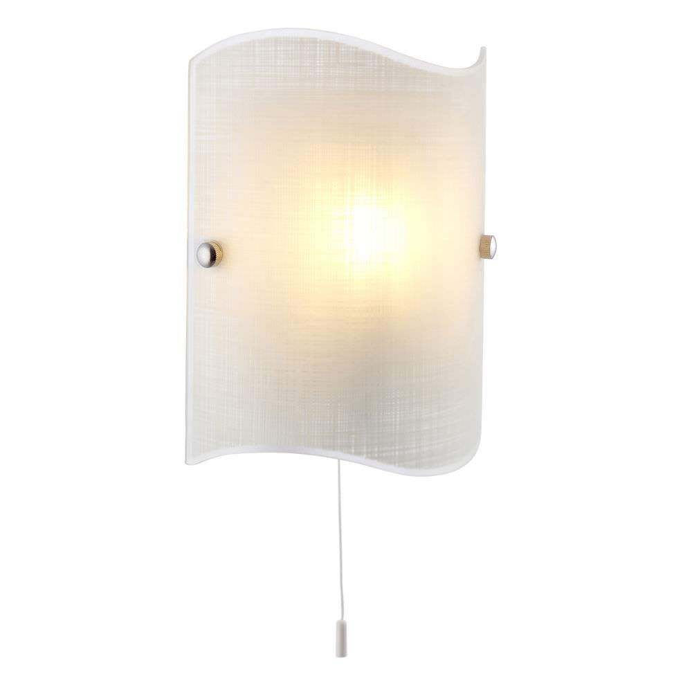 E14 Single Matt White Glass & Polished Chrome Pull Cord Switch Wall Light Betta Lighting