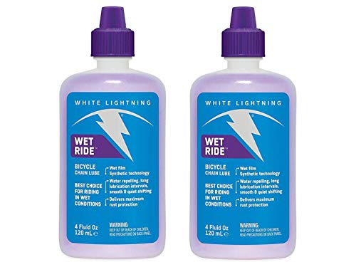- White Lightning Wet Ride Bicycle Chain Lube, 4oz Squeeze Bottle - Two (2) Pack