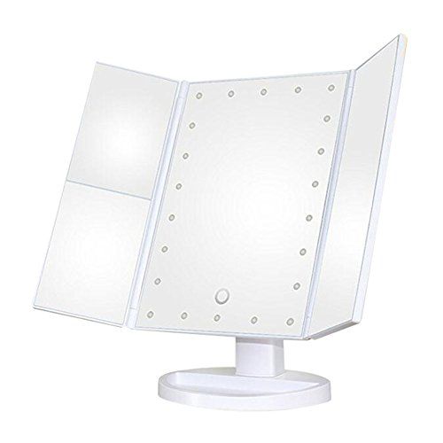 Three Panel 22 LED Lights 180 Degree Free Rotation with 1x/2x/3x Countertop Cosmetic Makeup Mirror/Lighted Travel Mirror/Pocket Mirror (White) (Recess Storage Panel)