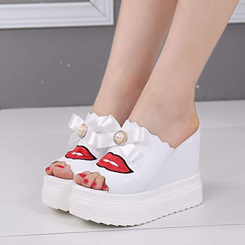 white Sexy Skid Heels Cool Slope Bottomed Thick Slippers Women'S Lips Embroidery Shoes SFSYDDY Slippers 36 Proof Heels High Muffin xUnwHqBBg