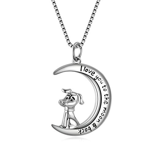 (LUHE Crescent Moon Dog Pendant Necklace Sterling Silver Pet Memorial Jewelry for Dog Lovers, for Her)