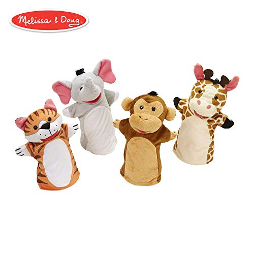 Melissa & Doug Zoo Friends Hand Puppets, Puppet Sets, Elephant, Giraffe, Tiger, and Monkey, Soft Plush Material, Set of 4, 14