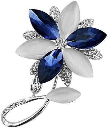 Fablcrew ブローチ 幸福の花 ラインストーン 胸飾り レディース ピン ジュエリー エレガント 美しい アクセサリー コ