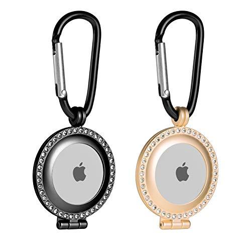 2 fundas de metal resistente apple airtag negro-dorado