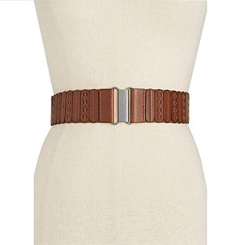 (Style & Co. Women's Casual Panel Stretch Belt, Cognac, Large/X-Large)