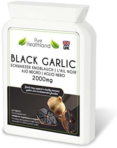 Gluten Free ODORLESS Black Garlic Supplement Pills. High Potency Equal to 2000mg Fresh Garlic Bulbs. Suitable for Vegan Vegetarian Tablets. Made in UK (1 Bottle)