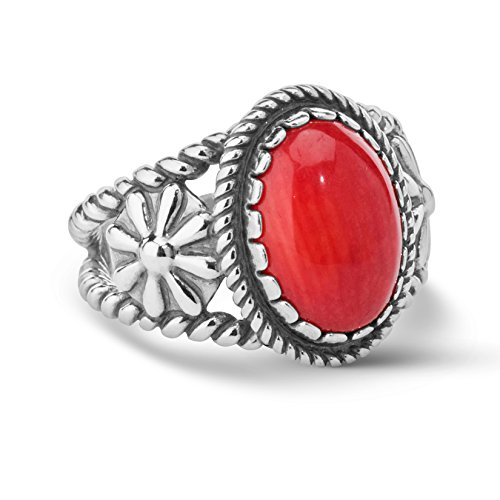 American West Sterling Silver Red Coral Gemstone Ring Size 5 ()