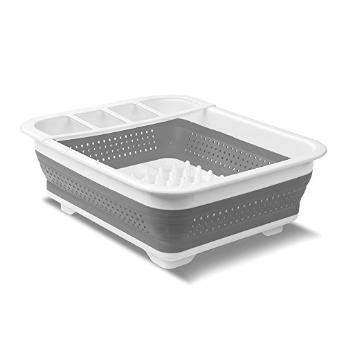 (madesmart EMW6337273, Collapsible Dish Rack, Grey/White)