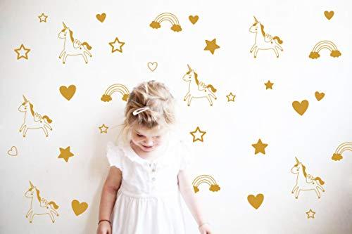 Unicorn Rainbow Star Heart Wall Decal,Removable Vinyl Wall Stickers for Baby Kids Boys Girls Bedroom Nursery Decor(A13) (Dumb Gold)