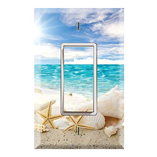 Graphics Wallplates - Seashells Ocean White Sand Beach- Single Rocker/GFCI Outlet Wall Plate Cover